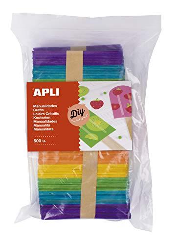 APLI Kids 17453 - Palos Polo Maxi de Madera en Colores Surtidos 500 Uds