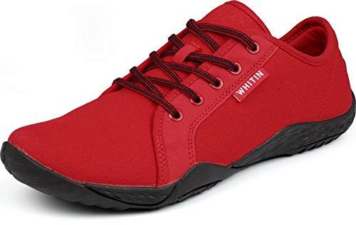 WHITIN Herren Canvas Sneaker Barfussschuhe Traillaufschuh Barfuss Schuhe Barfußschuhe Barfuß Barfußschuh Trekkingschuhe Laufschuhe für Männer Tennisschuhe Straßenlaufschuhe rot gr 44 EU