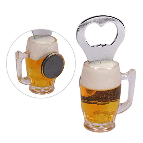 Preis am Stiel 4 x Flaschenöffner Bierglas mit Magnet | Kapselheber | Kronkorkenöffner