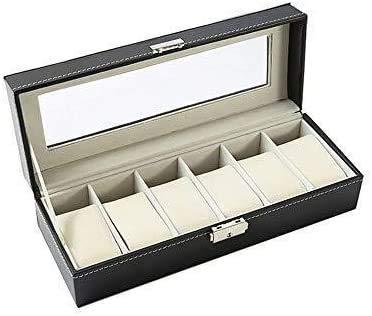 WENZHE Caja para Relojes Caja De Almacenamiento De Exhibición De Joyería De 6 Relojes Bandeja De Pulsera De Cuero Artificial Pantalla Negra