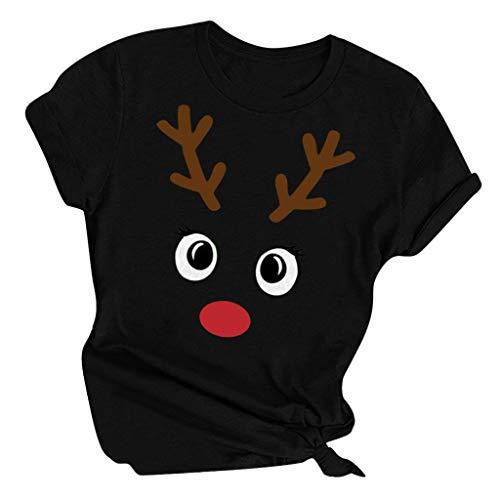 Zylione Damen T-Shirt Tops Bluse Weihnachts Shirt Festival Stil Design Fun Shirt Rentier Hemd Sweatshirt Elegante Oberteile Rundhals Ausschnitt Tops