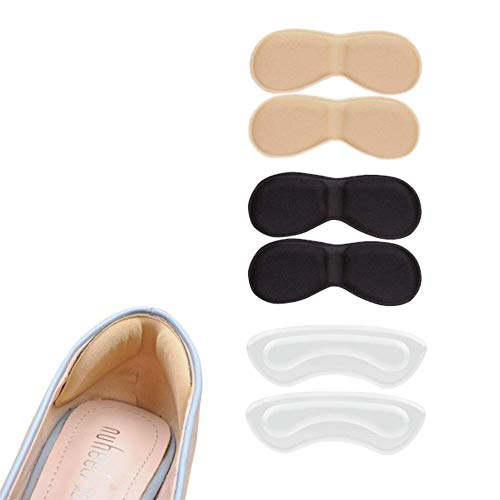 3 Pairs Soft Comfortable Heel Cushion Pads Heel Liners Self Adhesive Foot Care Protector Shoe Insoles Stickers (Transparent, Black, Beige)