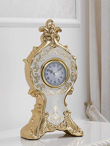 Simone Guarracino Horloge de Table Adrien décor Fleuri Queen Ivoire et Feuille Or