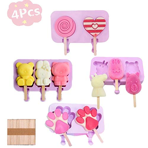 SKY TEARS Eisformen 10 Eisformen Popsicle Formen Set, Eislutscher Popsicle Formen aus Silikon Mini Eisform für Kinder, Family, Party