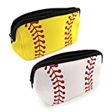 CZWESTC 2 Pcs Baseball Makeup Bag, Softball Makeup Pouch, Waterproof Neoprene Bag, Toiletry Bag Travel Cosmetic Pouch Bag with Zipper (Yellow and White)