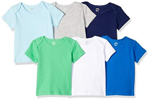 Amazon Essentials - Pack de 6 camisetas con escote americano para niño, Solid Blue & Green, Bebé prematuro
