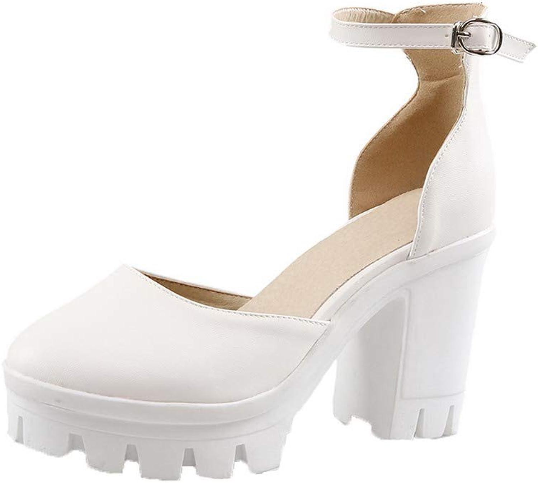 WeenFashion Women's Solid Pu High-Heels Buckle Open-Toe Sandals, AMGLX010176