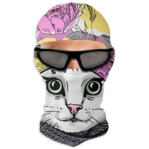 N/Een volledig gezichtsmasker witte kat met baret en gebreide sjaal kap zonnebrandcrème masker dubbele laag koud voor mannen en vrouwen