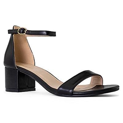 RF ROOM OF FASHION Women's Trendy Open Toe Ankle Strap Kitten Heel Sandal - Adorable Low Block Chunky Heel - Formal, Wedding, Party Simple Classic Pump