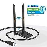 N/P WiFi USB Antena Dongle Adaptador PC 5GHz/867Mbps 2.4GHz/300Mbps AC 1200Mbps Doble Banda Dual 6dBi para Windows XP/Vista/7/8/10 Mac OS con Cable Extensión