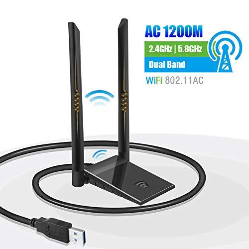 puissant N / P Dongle WiFi Dongle PC Adaptateur d'antenne USB AC sans fil 1200 Mbit / s 5 GHz / 867 Mbit / s…