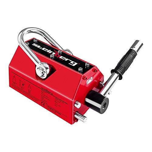 Steinberg Systems - Lasthebemagnet Kranmagnet (500 kg Hebeleistung, 1.500 kg Zugkraft, -40° bis 80° Temperaturbereich, Abschaltefunktion) Rot
