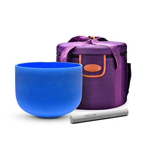 TOPFUND Blue G Note Crystal Singing Bowl Throat Chakra 10 inch with Crystal Singing Bowl Case and Crystal Singing Bowl Suede Striker and O-ring