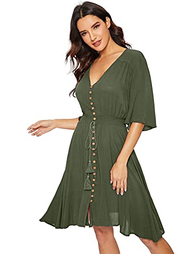 Milumia Women's Boho Button Up Split Solid Vintage Flowy Party Dress Green X-Large