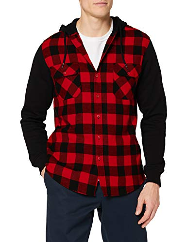 Urban Classics Herren Hooded Checked Flanell Sweat Sleeve Shirt Freizeithemd, Mehrfarbig (blk/red/bl 283), Medium