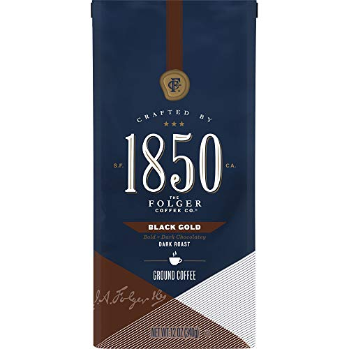 1850 by Folgers Black Gold Dark Roast Ground Coffee, 12 Ounces (Pack of 6)