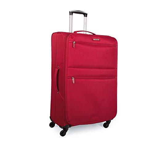 ITACA - Maleta de Viaje Mediana Blanda 4 Ruedas Trolley 68 cm poliéster eva. Extensible y Ligera. Mango y Asas. Estudiante y Profesional. i52760, Color Rojo