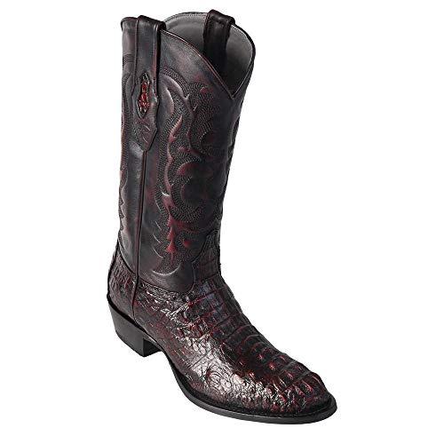 Piel Original de Hornback Caiman marrón (Gator) Ronda del Dedo del pie Boot