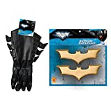 1 pair of Batman gloves with attached gauntlets 1 Pair of Batman Batarangs One size fits most children, flexible fabric glove and faux leather gauntlet for authentic crime fighter look Gloves made of sturdy black latex Batman Dark Knight Rises is off...