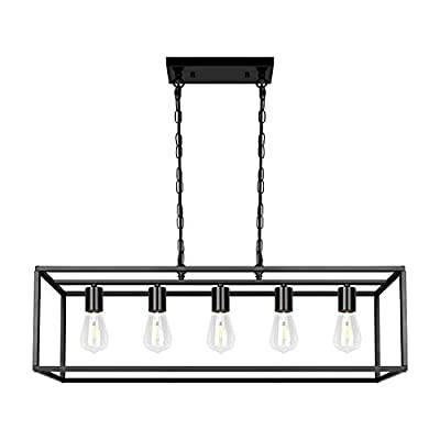 Black Farmhouse Kitchen Island Dining Room Pendant Light Modern 5-Light Chandelier Rectangle Metal Industrial Ceiling Light Fixtures for Living Room Foyer Bar (Black)