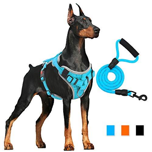 Hundegeschirr Anti Zug Gepolsterte Brustgeschirr mit Reflektorstreifen Weich Einstellbar Geschirr für Hunde Atmungsaktiv Dog Harness für Große Mittlere und Kleine Hunde