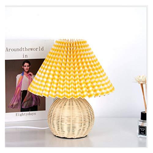 Lámpara de mesa vintage Lámpara de la lámpara de ratán de la vendimia Lámparas de mesa coreanas para la lámpara de dormitorio Lámpara de sala de estar Deco Deco Pliegues creativos Lámpara con bombilla