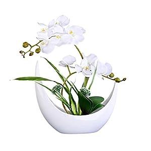 Decoration Simulation Phalaenopsis With Vase Set, Artificial Fake Flower Pot Home Hotel Silk Flower Fake Flower Decoration, Ceramic Flower Pot Artificial Bonsai Decoration Table Centrepieces