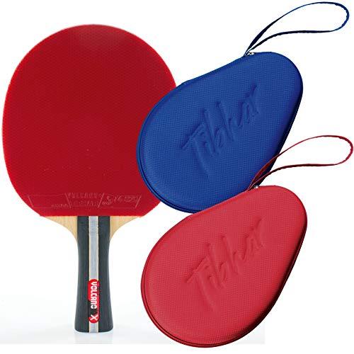 Tibhar Juego de raquetas de ping pong para principiantes ambiciosos, pala de competición Volcano X + funda Grid, juego de ping pong, aprobado por la ITTF (azul)