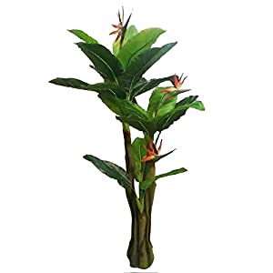 AMERIQUE Unique and Gorgeous 6′ Bird of Paradise Artificial Tree Plant Real Touch Technology, Indoor and Outdoor, 21 Leaves 3 Flowers, Green