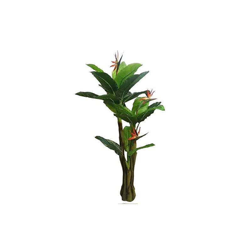 silk flower arrangements amerique unique and gorgeous 6' bird of paradise artificial tree plant real touch technology, indoor and outdoor, 21 leaves 3 flowers, green