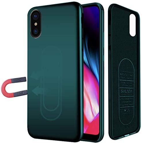 Haobuy Custodia Magnetica per iPhone 7 Plus/8 Plus, Soft TPU Cover iPhone 7 Plus/8 Plus Magnetica, Supporto Magnetica Auto iastra Metallica Incorporata, per iPhone iPhone 7 Plus/8 Plus 5.5' - Verde