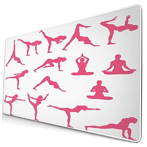 HUAYEXI Alfombrilla Gaming,Yoga Rosa Siluetas flexionando la impresión,con Base de Goma Antideslizante,750×400×3mm