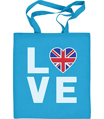 Shirtgeil Love UK - Perfektes Präsent für England Fans Jutebeutel Baumwolltasche One Size Hellblau
