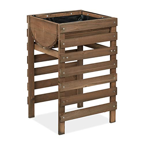 Relaxdays Hochbeet Holz, Balkon, Terrasse & Garten, inkl. Folie, Kräuterhochbeet auf Stelzen, 60x38x36,5 cm, Dunkelbraun