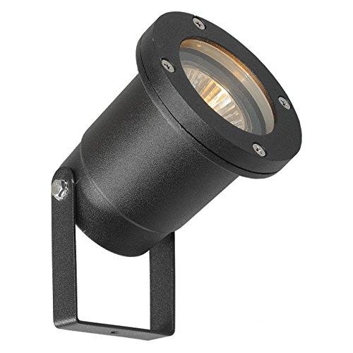 MW-Light 808040301 Faretto da Terra Giardino Colore Nero Metallo Vetro antiurto IP65 GU10 1 x 21W