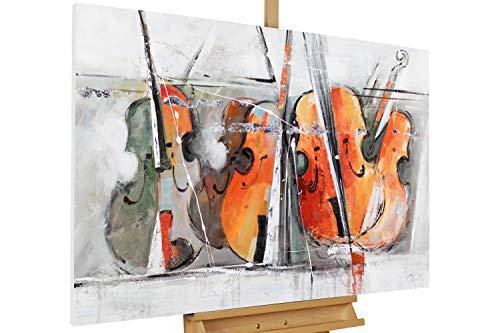 Kunstloft® Cuadro acrílico 'Cuarteto de violines' 120x80cm   Original Pintura XXL Pintado a Mano sobre Lienzo   Música Abstracto violín de Colores Naranja Gris   Cuadro acrílico Moderno con Marco