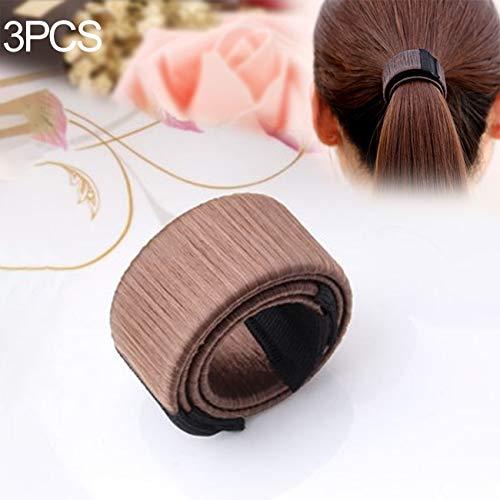 Hauptbänder Hoops 3 STÜCKE Magische Brötchen Frauen Synthetische Perücke Headwear Donuts Knospe Ball Twist Magie DIY Brötchen-Hersteller Werkzeuge (beige) (Farbe : Medium Coffee)