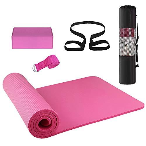 Lixada Yogamatte rutschfest+Yoga Blöcke+Stretching Strap, Yoga 3er-Set für Fitness Pilates Yoga Anfänger Übungsset mit Matte Aufbewahrungstasche und Gurt (Rosa)
