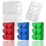 MILIVIXAY Wax Melt Containers-6 Cavity Clear Empty Plastic Wax Melt Molds-50 Packs Heart Shape Clamshells for Tarts Wax Melts.