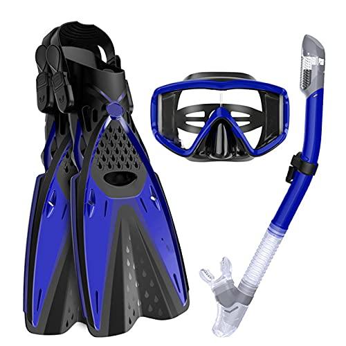 Juego de máscara de esnórquel para adultos, aletas de buceo, antivaho y antigoteo, respiración libre, protección de seguridad, azul ML/XL