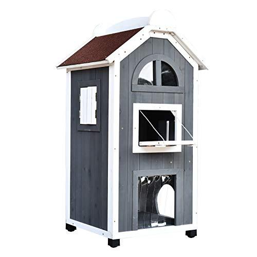 Pawhut Katzenhaus für Katzenbett oder Katzentoilette, Katzenschrank, Katzenklo Indoor, Tannenholz, Asphaltdach, Grau + Weiß, 59 x 55 x 109 cm