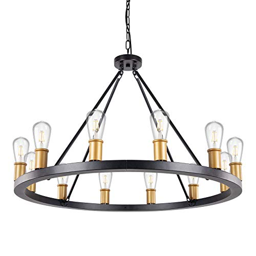 "Wellmet Wagon Wheel Chandelier, 35""Dia 12 Lights Rustic Matte Black Foyer Chandelier, Large Round Mordern Farmhouse Chandeliers Lighting Fixture for Kitchen Island, Dining Living Room, Entryway"