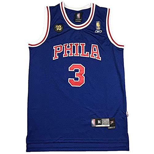 XGMJ # 3 Allen Iverson Herren Basketball Trikots, Philadelphia 76ers Jugend Herren bestickte Mode Jersey Weste, Schnelltrocknendes atmungsaktives Sweatshirt Sport Top-Blue-XL