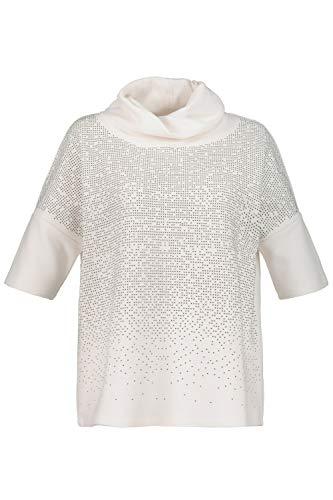 Ulla Popken Damen große Größen Sweatshirt mit Schmucksteinen weiß 50/52 724256 20-50+