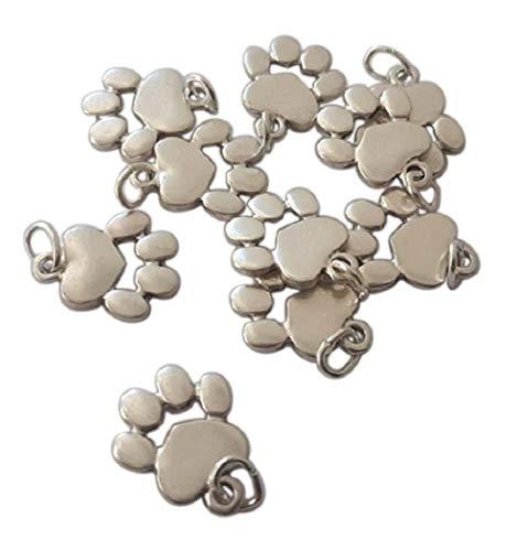 Ciondoli Zampetta Cane e Gatto placcati Argento. 10 Charm per creazioni Fai da Te: Abbigliamento, Decorazioni, Accessori, bigiotteria, Gioielli, bracc