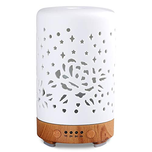 Essential Oil Diffuser, White 100ml Ceramic Diffuser, Aromatherapy Diffuser with 4 Timers Model, Cool Ceramic Mist Humidifier with Waterless Auto Shut-Off Protection (Rose)