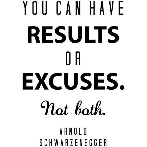 My Vinyl Story Arnold Schwarzenegger calcomanía de pared motivacional cita para decoración del gimnasio en casa arte puede tener resultados. Be Focused & Motivated and Achieve Results 25 x 17 pulgadas