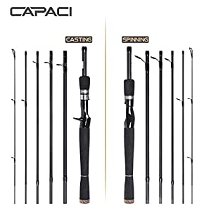 CAPACI Portable Travel Casting Spinning Bass Fishing Rods Super Convenience 24 Ton Carbon Fiber Rod for Salt Fresh Water Comfortable EVA Handle 6 Pieces (Spinning, 2.1m/6.89ft)