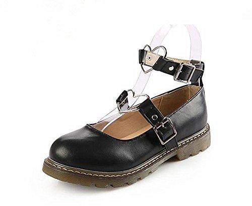 Japanse Harajuku Sweet Lolita Shoes PU Leather Heart Strap Mary Jane Flat Shoes Black