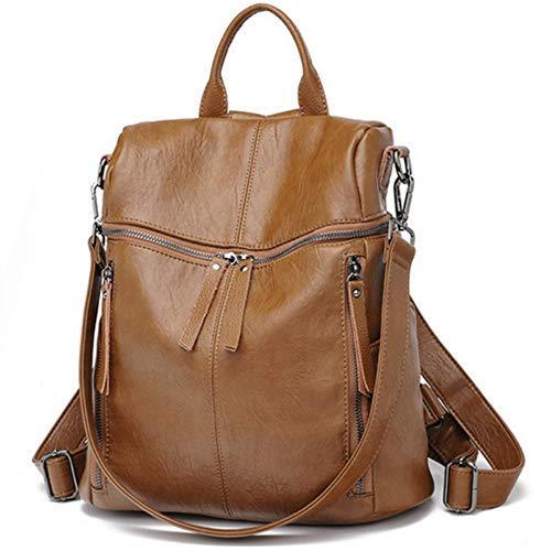 Damen Rucksack Schafsleder - Daypack Schule Lässiger Rucksack 2 in 1 als Rucksack und Schultertasche, Backpack Leichte, Große Kapazität, mehrere Taschen und Mode für Arbeit Schule und Reise (braun)